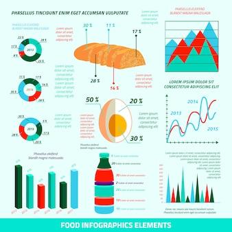 Vlakke het ontwerpelementen van voedselinfographics van landbouwbedrijfdiagrammen en statistieken vectorillustratie