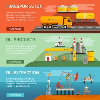Vlakke horizontale banners set van olie benzine industrie segmenten extractie transport