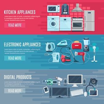 Vlakke horizontale huishoudelijke banners set van keukenapparatuur elektronische apparaten en digitale product