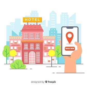 Vlakke hotelreserveringsachtergrond
