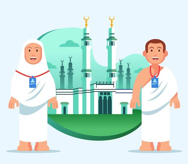 Vlakke illustratie van hadj pelgrim op grote moskee van mekka