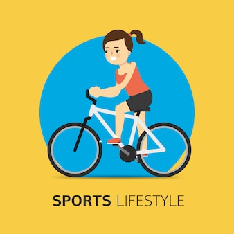 Vlakke illustratie van meisje die een fiets berijden