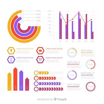 Vlakke infographic elementeninzameling