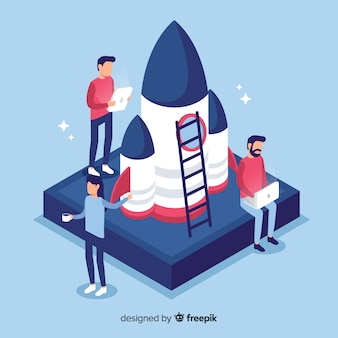 Vlakke ingenieurs die een raket bouwen