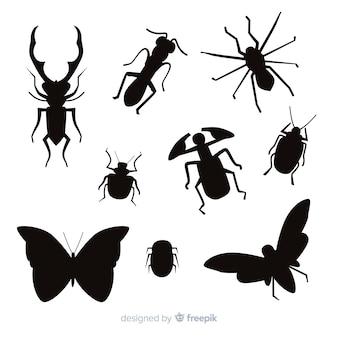 Vlakke insecten silhouetten collectie