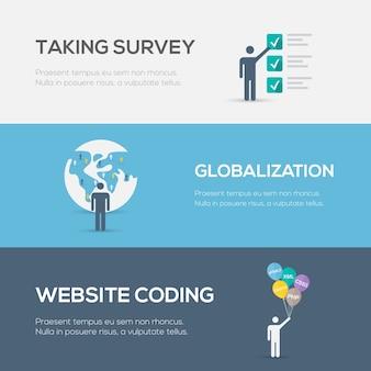 Vlakke internetconcepten. website codering, globalisering en enquête.