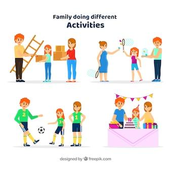 Vlakke inzameling van familie die verschillende activiteiten doet