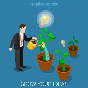 Vlakke isometrische stijl laat uw ideeconcept groeien