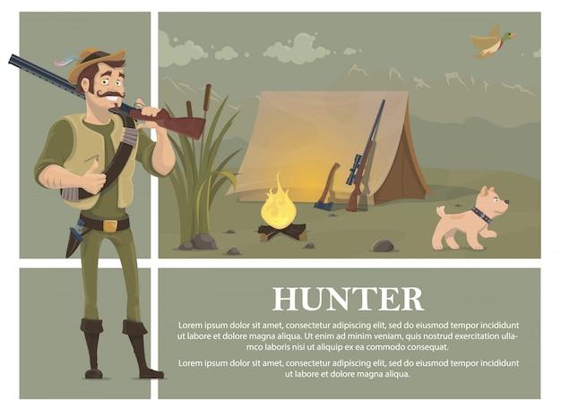 Vlakke jacht kleurrijk concept met lachende jager met jachtgeweer hond bijl sniper rifle in de buurt van tent vliegende eend riet vreugdevuur