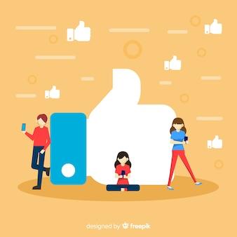 Vlakke jonge mensen sociale media zoals conceptenachtergrond