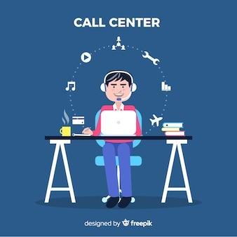 Vlakke jongen die op een call centreachtergrond werkt