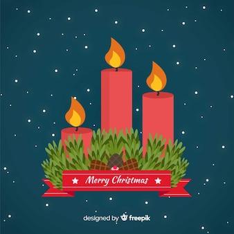 Vlakke kaarsen kerstmis achtergrond