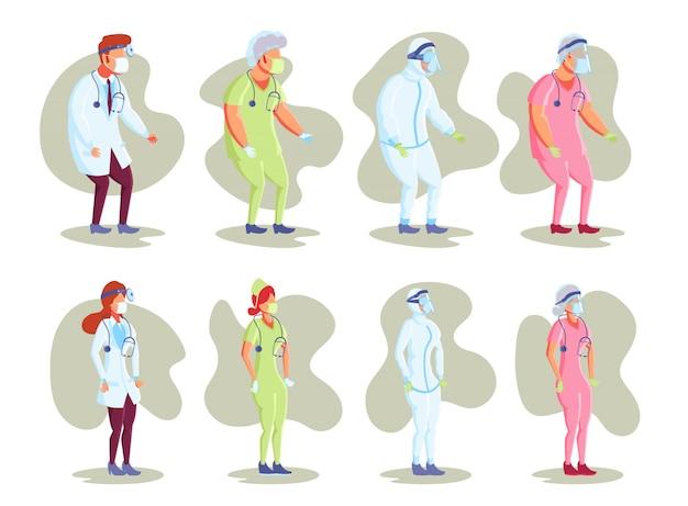 Vlakke karakter illustratie. medisch personeel, arts en verpleegkundige dragen verschillende outfits