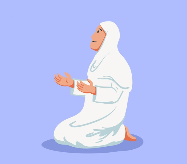 Vlakke karakter van mohammedaanse vrouw zitten en bidden.