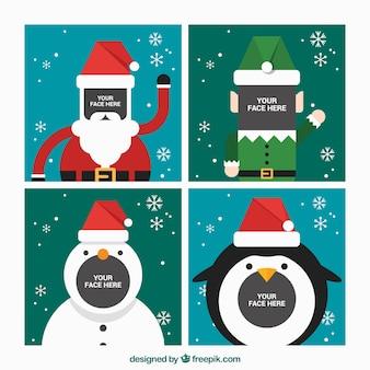 Vlakke kerst karakter frames