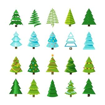 Vlakke kerstmis winter bomen met feestelijke xmas decoratie vector collectie
