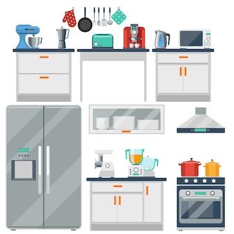 Vlakke keuken met kookgerei, apparatuur en meubels. koelkast en magnetron, broodrooster en fornuis, mixer en molen