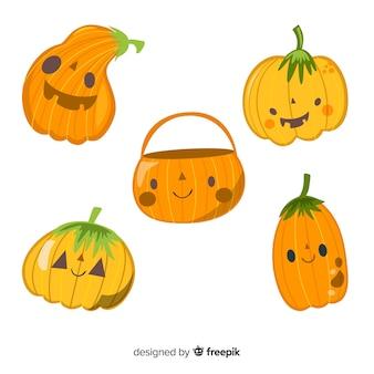 Vlakke kinderachtige halloween-pompoeninzameling