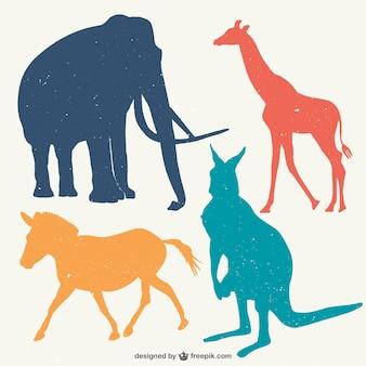 Vlakke kleuren dierensilhouetten