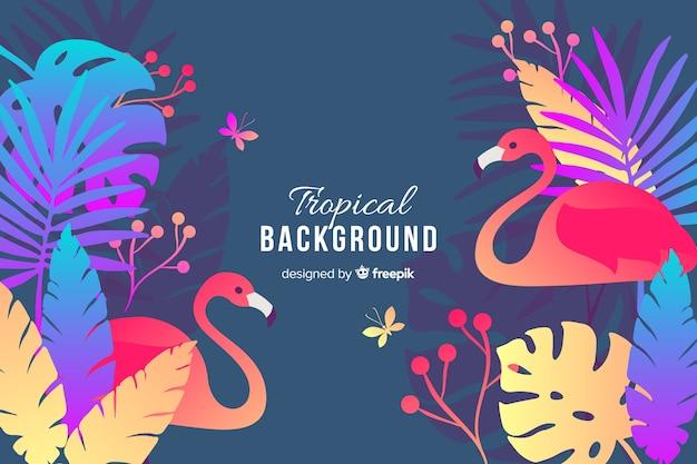 Vlakke kleurrijke exotische bladeren met flamingo'sachtergrond