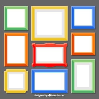 Vlakke kleurrijke frames-collectie