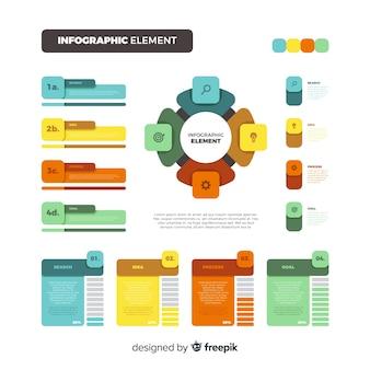Vlakke kleurrijke infographic elementeninzameling