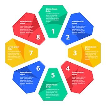 Vlakke kleurrijke infographic stappen