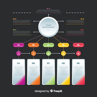 Vlakke kleurrijke infographic stappeninzameling