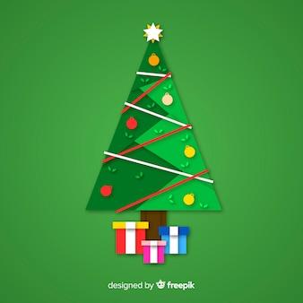 Vlakke kleurrijke kerstmisboom met cadeaus