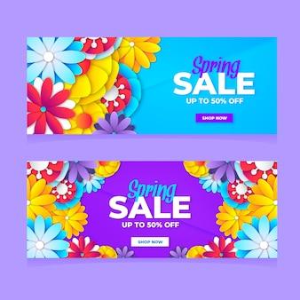 Vlakke kleurrijke lente verkoop banners