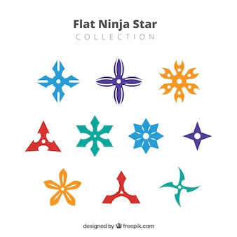 Vlakke kleurrijke ninja-sterinzameling