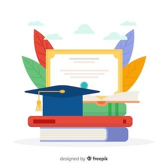 Vlakke kleurrijke universitaire conceptenachtergrond