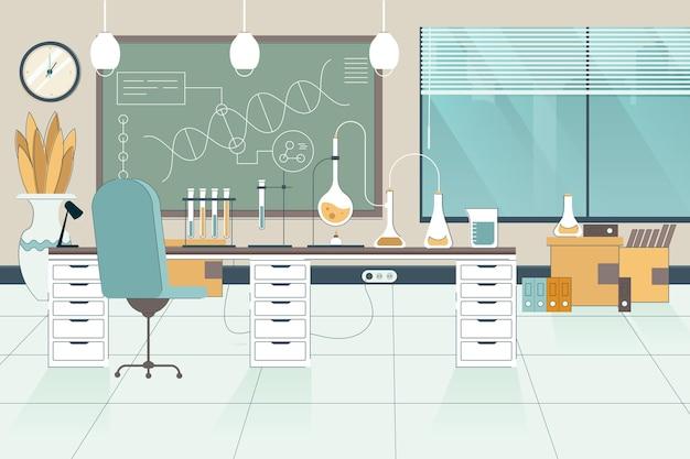 Vlakke laboratoriumruimte geïllustreerd