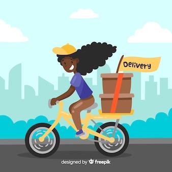 Vlakke leveringsmeisje op fietsachtergrond