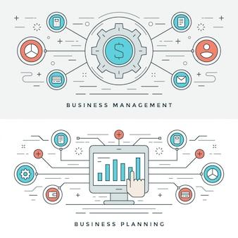 Vlakke lijn bedrijfsbeheer en planning