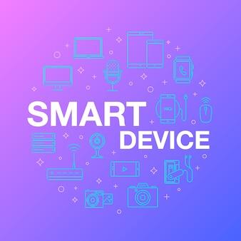 Vlakke lijn ontwerp van smart device-pictogrammen.