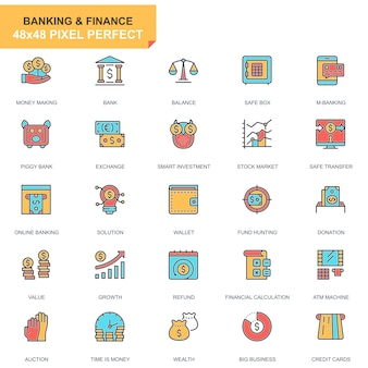 Vlakke lijnbankieren en financiën geplaatste pictogrammen