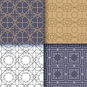 Vlakke lineaire arabische patroon set