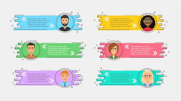Vlakke lineaire promotielinten met avatars en citaat
