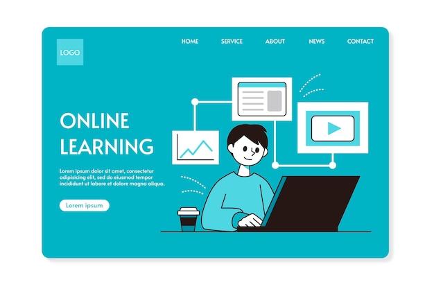 Vlakke lineaire startpagina voor online onderwijs