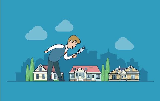 Vlakke lineaire stijl platteland voorstad herenhuis huizen set landschap vector illustrartion