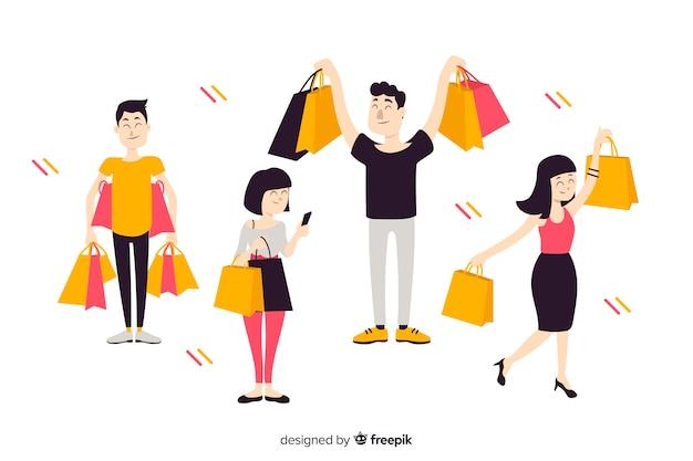 Vlakke mensen die boodschappentassen bij zich hebben