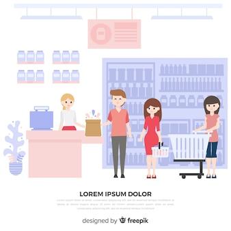 Vlakke mensen die de supermarktachtergrond kopen