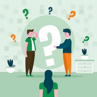 Vlakke mensen die geïllustreerde vragen stellen