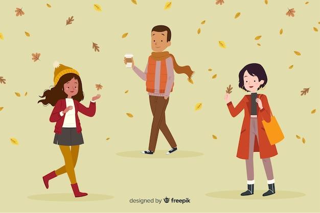 Vlakke mensen die in de herfst lopen