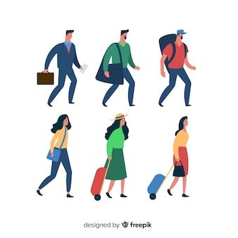 Vlakke mensen die in verschillende situaties reizen
