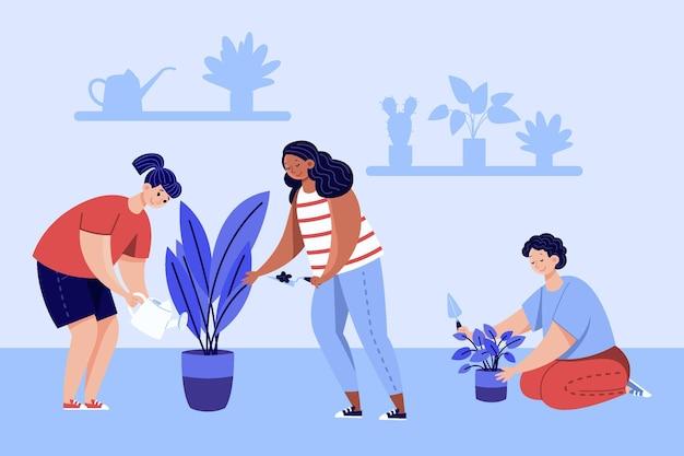 Vlakke mensen die voor geïllustreerde planten zorgen