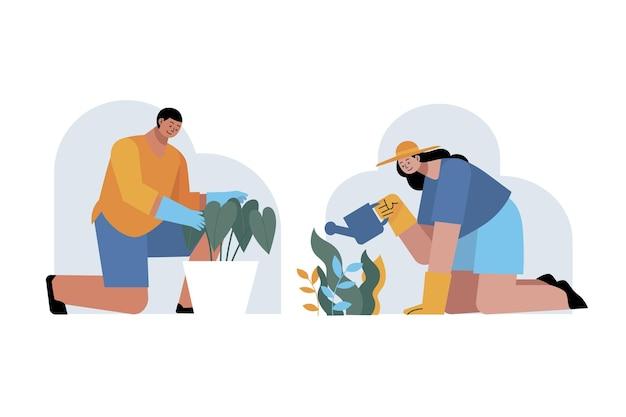 Vlakke mensen die voor het verzamelen van planten zorgen