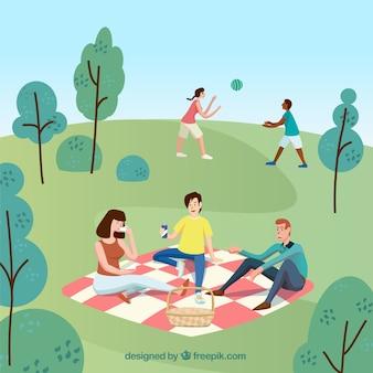 Vlakke mensen die vrije tijd buitenactiviteiten doen