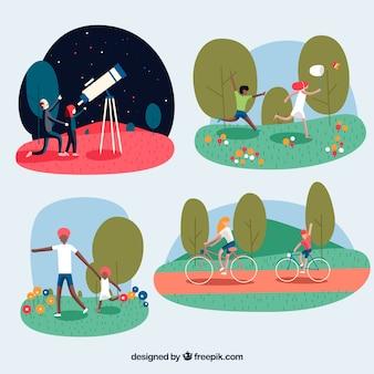 Vlakke mensen doen buitenactiviteiten